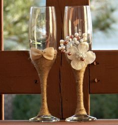 Wedding Glasses Toasting Flutes Champagne Glasses Burlap
