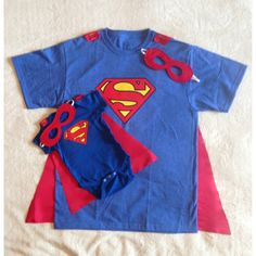 New Dad Gift Set or New Big Brother, Superman T-Shirt with Cape and Superhero Baby Outfit with Cape and Mask, Father Son Super Hero Costume found on Polyvore