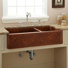 "39"" Vineyard 70/30 Offset Double-Bowl Copper Farmhouse Sink"