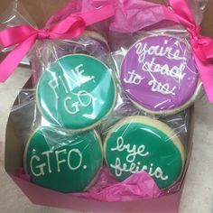 #Mean Sugar Cookies. #Goodbye sugar cookies. #Mean coworker cookies. Contact Bombshell Cupcakes on Facebook and Instagram. Goodbye Coworker, Goodbye Gifts For Coworkers, Farewell Gift For Coworker, Going Away Cakes, Going Away Gifts, Leaving Party, Leaving Gifts, Farwell Gifts, Fun Dinners For Kids
