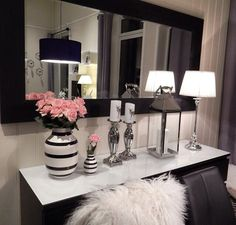 decor, pop of color, black and white, pink decorations