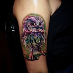 Owl tattooed colorful on Arm - http://tattootodesign.com/owl-tattooed-colorful-on-arm/ | #Tattoo, #Tattooed, #Tattoos