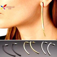 2015ホットシンプルなイヤリングファッション岩パンクゴールドシルバーブラッククーパースティックドロップイヤリングジュエリー用女性pendientesデborla