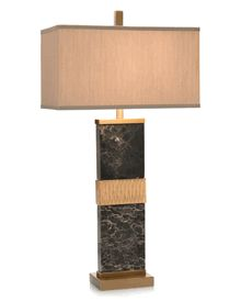 """Limited Production Design & Stock: 35"""" Tall Majestic Black Marble Profile Table Lamp * Brass Accents"""