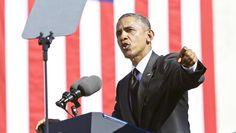President Barack Obama speaks from the foot of the Edmund Pettus Bridge