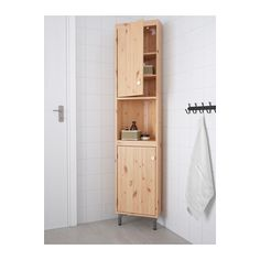 IKEA - SILVERÅN, Corner unit, light brown, , You can move the shelf and adjust the spacing according to your personal needs.You can mount the door to open from the right or left.Perfect in a small bathroom. At Home Furniture Store, Modern Home Furniture, Affordable Furniture, Bathroom Furniture, Furniture Ideas, Liatorp, Corner Storage, Tall Cabinet Storage, Bathroom Storage