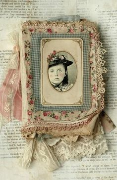 MIXED MEDIA FABRIC COLLAGE BOOK OF PORTRAITS OF GIRLS   eBay