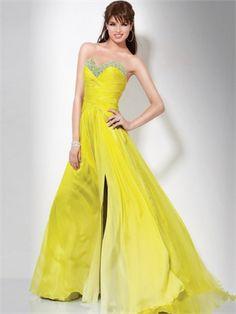 Strapless A-line Sweetheart Beaded Drape Side Slit Lemon Yellow Prom Dress PD0652
