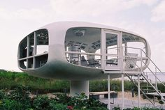 If this isn't a Venturo House, it certainly looks like one! The retro structure, designed by architect Ulrich Müther in 1968, stands in Binz, Germany's largest seaside resort on the island of Rügen.