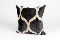 Double-sided, hand-loomed silk velvet ikat pillow