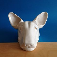 Goldie  Ceramic English Bull Terrier Head by AWESOMEfortress