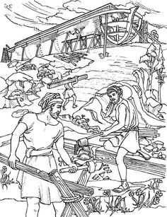Noah Builds An Ark Building Noahs Bible Coloring Sheets