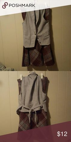 Vintage Wool Vest and Skirt Set Grey vest with black buttons and tie back, with matching grey and maroon plaid skirt. The tag says 9-10, but it fits like a small or extra small. Skirts Skirt Sets