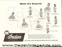 1959 Vintage Indian / Matchless Motorcycle Ad: Meet the Experts Vintage Indian Motorcycles, Guitar Magazine, Best Dad, The World's Greatest, Vintage Ads, Meet, Cover, Training, Pictures