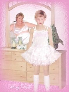 """""""Such a sweet boy!  Mommy loves seeing her pretty dress up doll in lovely petticoats and dresses, not in those ugly old boy clothes!  Now come here and let Mommy give you some kisses and tickles ... then we'll go find a pretty dolly for you to play with, just like Mommy has ...."""""""