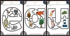 Aprendemos las vocales con este divertido puzzle Desde Imagen Educativas apostamos por la imagen como vehículo educativo, una nueva forma de acercarse a contenidos educativos y otra forma de presentar la información. En este... Bilingual Education, Learn English, Puzzles, Peanuts Comics, Learning, Montessori, Alphabet, Shape, Preschool Education