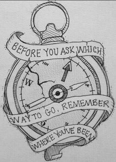 quote, compass, and tattoo image