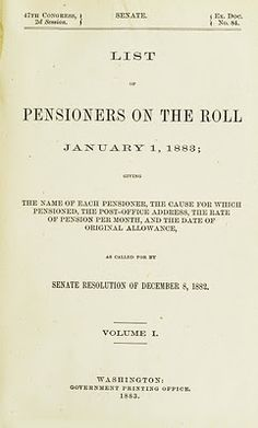 Civil War List of Pensioners on the Roll January 1, 1883. Read how historical U.S. military records can help you find your ancestors at the GenealogyBank blog: http://blog.genealogybank.com/1883-us-government-military-pension.html    #genealogy #genealogybank #civilwar #military #history