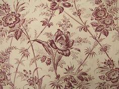 Antique French Floral Toile Linen Cotton Fabric C1860   eBay