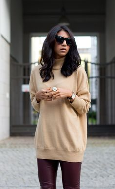 outfit, camel, sweater,