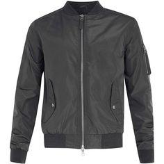 Gunmetal Grey MA1 Bomber Jacket ($100) ❤ liked on Polyvore featuring outerwear, jackets, men, gray jacket, blouson jacket, flight jacket, grey jacket and bomber jacket
