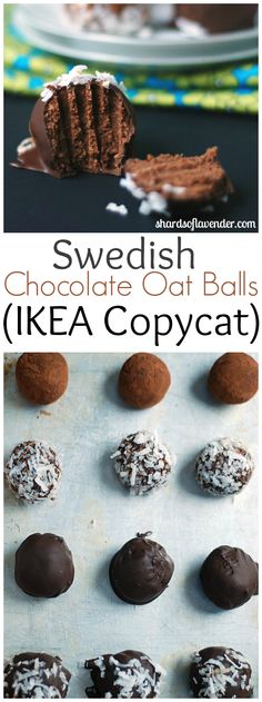 Swedish Chocolate Oat Balls (IKEA Copycat) | Truffle bites, flavored with coffee and chocolate dipped | shardsoflavender.com