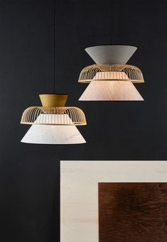 Yellow and white linen pendant lamp Mekko from MARKET SET is made by French craftsmen. This french hanging lamp is made a stack of 2 lampshades Boho Lighting, Pendant Lighting Bedroom, Pendant Lamp, Chandelier, Led Filament, Suspension Design, Wooden Lamp, Lamp Sets, How To Make Light