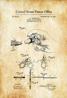 Cigar Cutter Patent 1906 - Tobacco Patent Cigar Lounge Sign Cuban Cigar Cigar Art Cigar Decor Man Cave Cigar Cutter by PatentsAsPrints