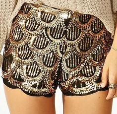 The texture in these shorts is rough and shiny. They draw attention to the legs and increase the size of the legs. Women with skinnier legs would look good in this style because it will make their legs look more fuller.