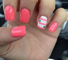 Stripes Coral Nails Hearts Cute Nail Art