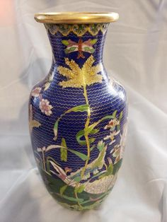 efd61a2913 Antique Chinese Cloisonne vase 11 1 4