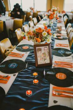 Vintage music themed table decor. Great record menus! #records #vintagewedding #music