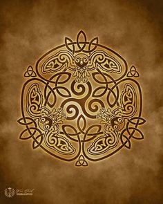 Wise Owl Celtic Owl Triskele Knotwork -  Pagan Wiccan Print - Brigid Ashwood