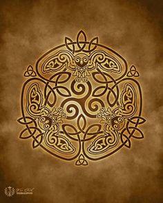 Hibou sage celte Owl Triskele entrelacs