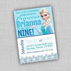 Frozen Digital Party Invitations Printed or by KennedyLaneDesigns, $14.50
