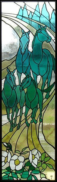 Horses stained glass #StainedGlassHorse #StainedGlassPanels