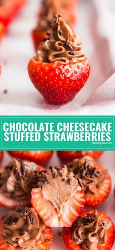Stop what you're doing and go make the Chocolate Cheesecake Stuffed Strawberries. Sweet juicy strawberries stuffed to the gills with rich decadent chocolate cheesecake. These are so easy to make and dangerously addictive! Romantic Desserts, Easy Desserts, Dessert Recipes, Cheesecake Recipes, Fruit Dessert, Homemade Desserts, Keto Desserts, Fruit Recipes, Strawberry Cheesecake