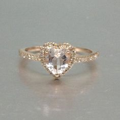 Morganite Engagement ring Rose gold,Diamond wedding Shaped Cut,Gemstone Promise Bridal from popRing on Etsy. Ring Set, Ring Verlobung, Diamond Wedding Bands, Diamond Engagement Rings, Morganite Engagement, Heart Shaped Engagement Rings, Diamond Rings, Morganite Ring, Halo Engagement