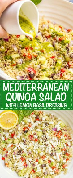 Mediterranean quinoa salad is a flavorful, veggie-loaded salad with great colors, flavors and textures! Great as a vegetarian side dish or add chicken or chickpeas to make it a full meal! | www.familyfoodonthetable.com