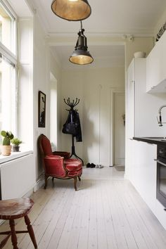 my scandinavian home: A relaxed and eclectic Stockholm space Living Etc, Home And Living, Living Spaces, Stockholm, High Back Dining Chairs, Vintage Interiors, Red Interiors, Scandinavian Home, Interior Design Inspiration