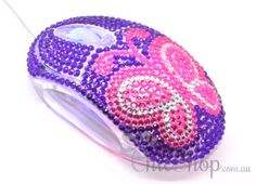 Purple/Pink Butterfly Crystal USB Optical Computer Mouse for any Notebook, Laptop or Desktop PC. Decorated in Rhinestone. All You Need Is, Wireless Computer Mouse, Red Led Lights, Pc Mouse, Lilac, Purple, The Fault In Our Stars, Pink Butterfly, Notebook Laptop