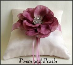 Mauve Magic Ring Bearer Pillow - Pale blush pink silk satin wedding ring cushion with mauve sash, rhinestone crystal and felted flower accents.