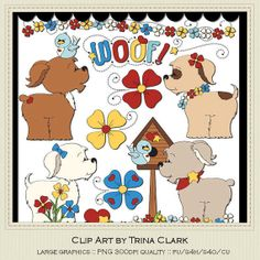 Puppy Love Clip Art Graphics by Trina Clark by marlodeedesigns, $1.35