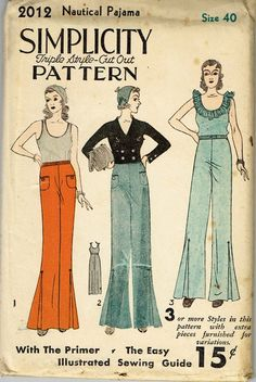 Simplicity 2012 Rare Vintage Sewing Pattern Misses Beach Pajamas Pattern with Nautical Style From the Early Factory Folded and Unused Nice Condition Overall Hard to Find Plus Size 40 Bust Stylish Eve Outfits, Casual Work Outfits, Professional Outfits, Simplicity Sewing Patterns, Vintage Sewing Patterns, 1930s Fashion, Vintage Fashion, Nautical Fashion, Nautical Style