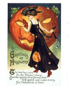 Nostalgic Halloween postcard with a spooky pumpkin and owls.
