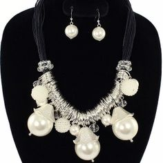 Chunky White Pearl Charms & Rings Necklace Set Elegant Jewelry