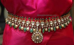 Flat Diamond Grand Vaddanam by Kalasha Gold Earrings Designs, Necklace Designs, Indian Wedding Jewelry, Bridal Jewelry, Gold Temple Jewellery, India Jewelry, Trendy Jewelry, Fashion Jewelry, Vaddanam Designs