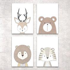 Bild Set Tiere Kunstdruck A4 Hirsch Bär Tiger Löwe Kinderzimmer Deko Geschenk