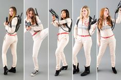 group halloween costumes With the brand new girl power remake of Ghostbusters hitting theaters this summer, we knew this DIY costume tutorial was a MUST. Girl Group Halloween Costumes, Group Costumes, Halloween Outfits, Diy Costumes, Halloween Diy, Costume Ideas, Creative Costumes, Halloween 2020, Halloween Stuff