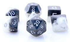 Get ready to roll with Halfsies Dice (Yin Yang). This RPG dice set has all your favorites: d4, d6, d8, d10, d%, d12, and d20. Halfsies are an exciting new line of role playing dice ready for your grea